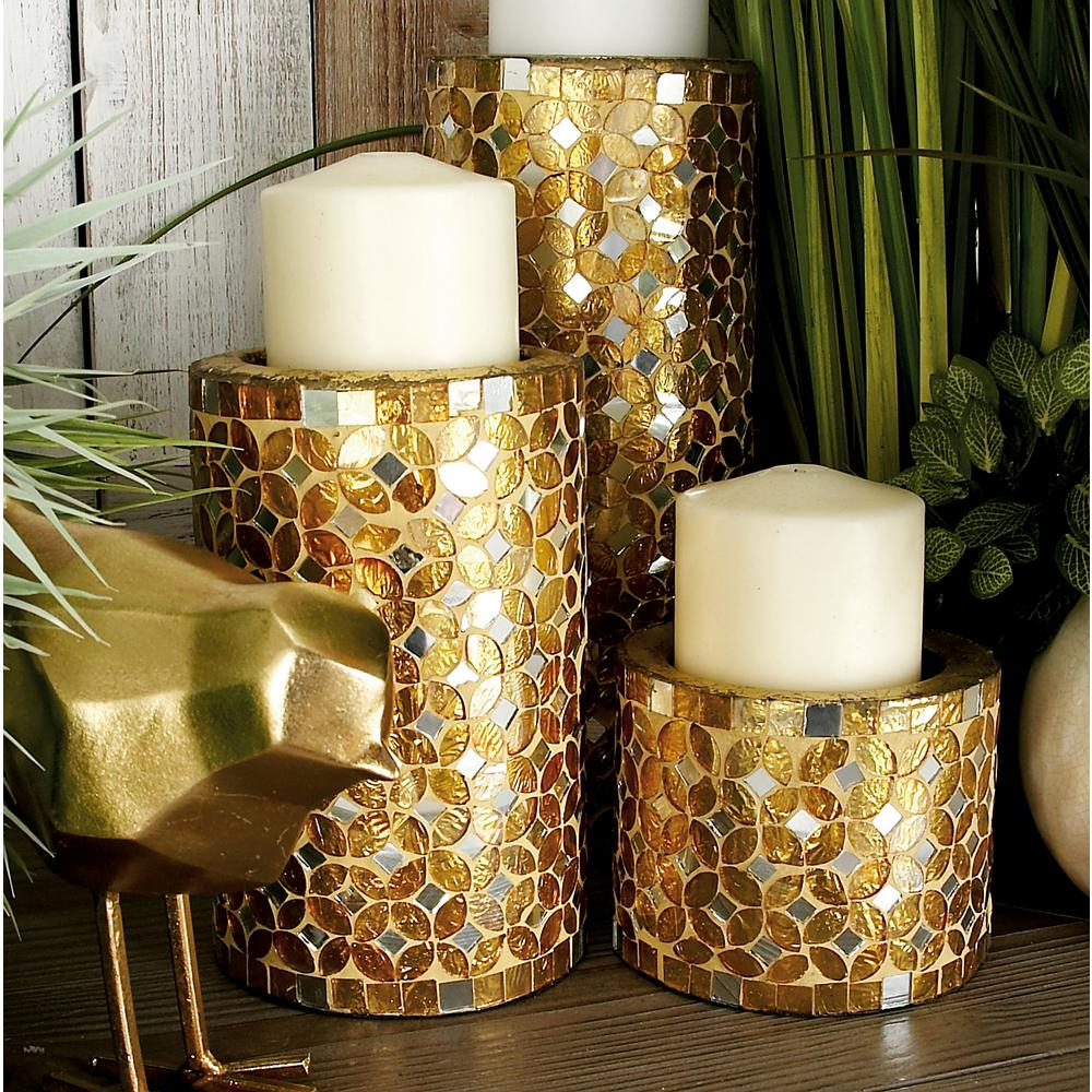 Gold Bronze Iron Metal Mosaic Pillar Candle Holders Set of 323897