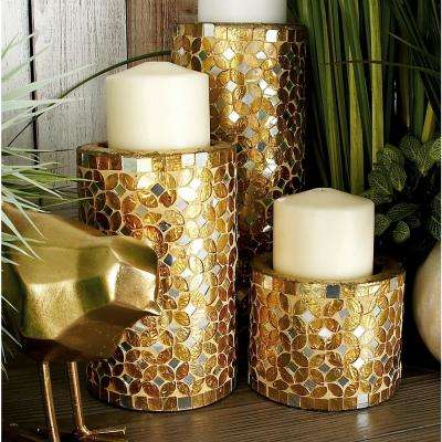 Gold Bronze Iron Metal Mosaic Pillar Candle Holders (Set of 3)