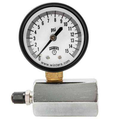 PETG Series 2 in. Gas Test Pressure Gauge with Test Valve Adapts to 3/4 in. FNPT and Range of 0-15 psi