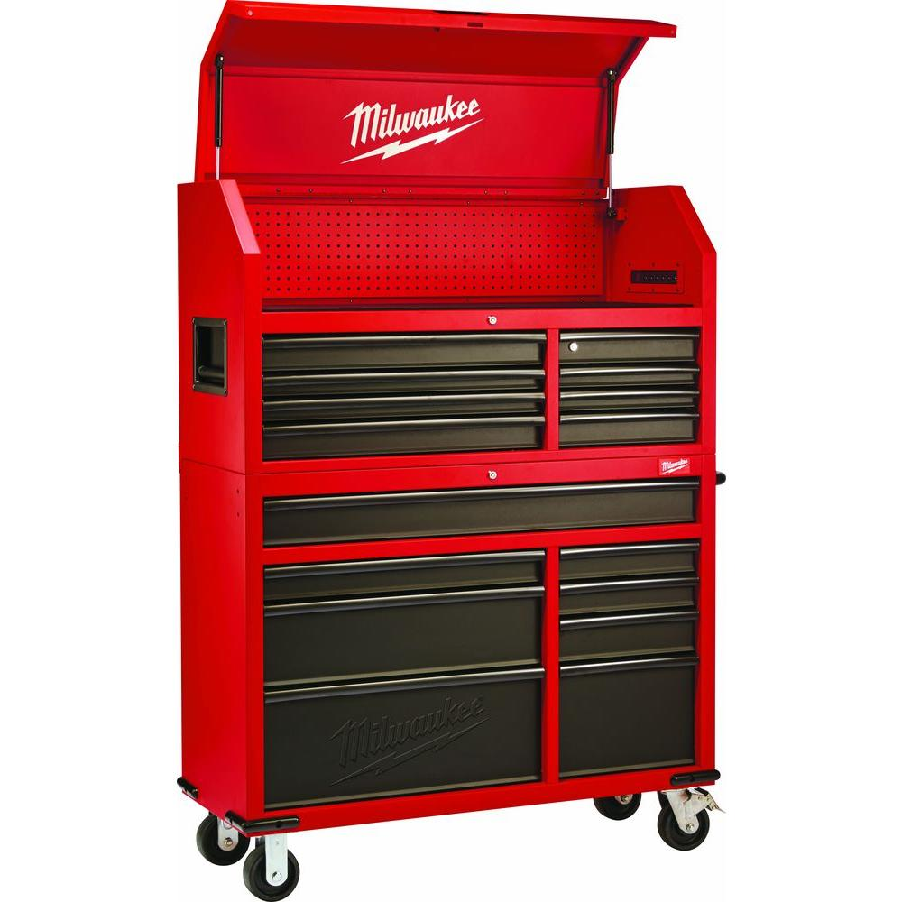 Milwaukee 46 in. 16-Drawer Tool Chest and Rolling Cabinet Set, Red ...