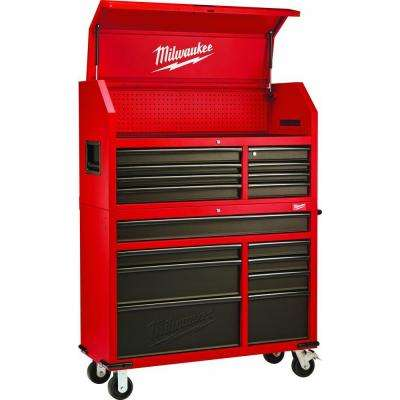 46 in. 16-Drawer Tool Chest and Rolling Cabinet Set, Red and Black