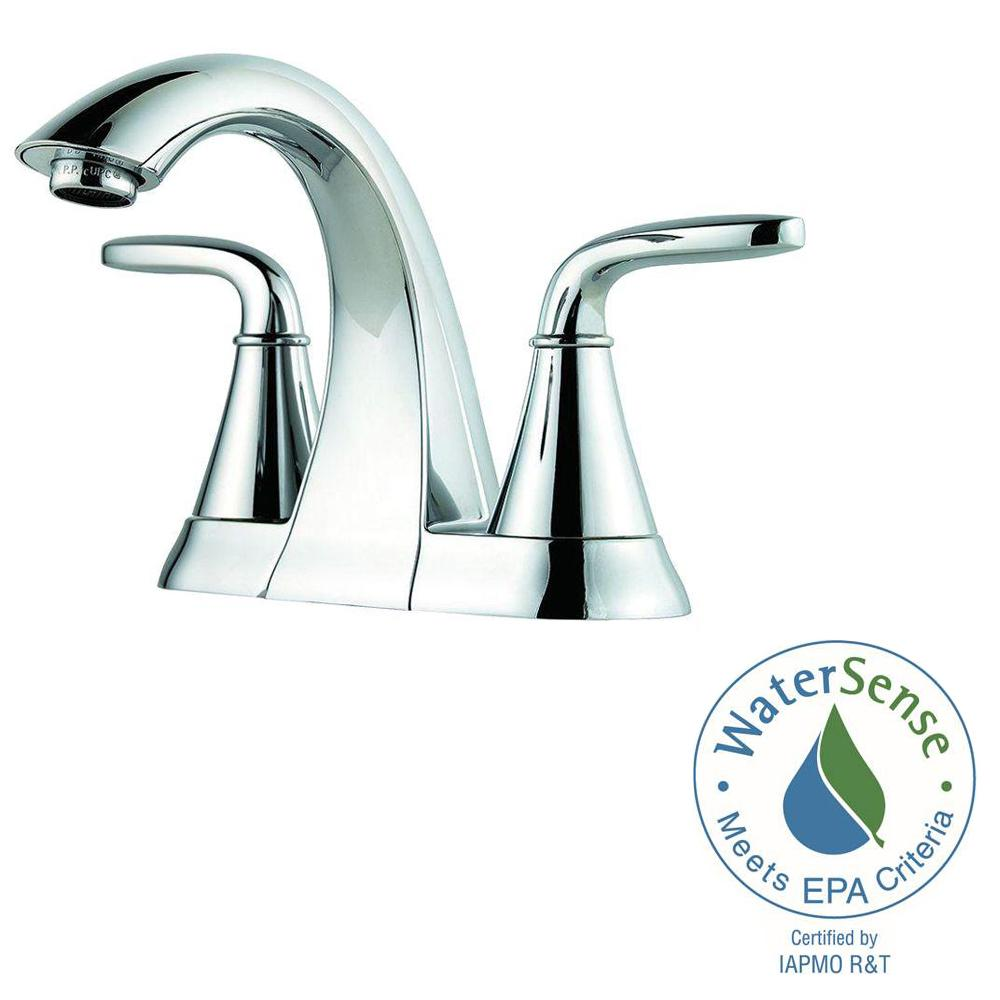 Pfister pasadena 4 in centerset 2 handle bathroom faucet - Polished chrome bathroom faucets ...