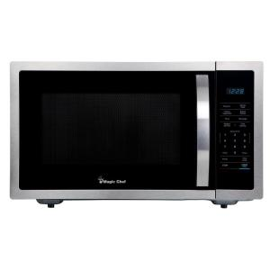 Magic Chef 1 6 Cu Ft Countertop Microwave In Stainless Steel With Gray Cavity Hmm1611st2 The Home Depot