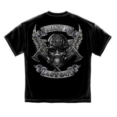 Men's Large Black Cotton Short Sleeved Firefighter Steel Fire T-Shirt