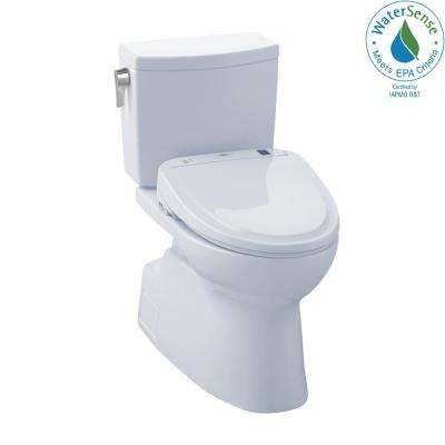 Vespin II Connect 2-Piece 1.0 GPF Elongated Toilet with Washlet S300e Bidet and CeFiOntect in Cotton White