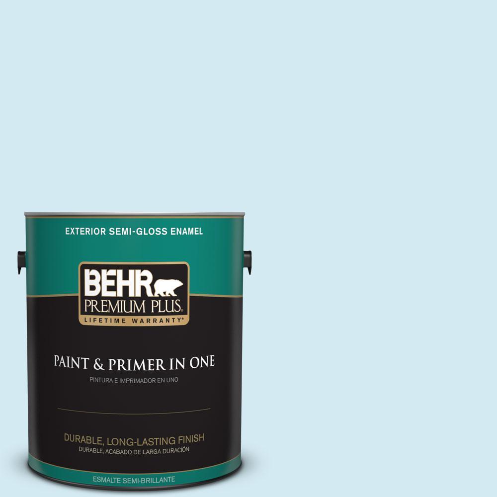 BEHR Premium Plus 1-gal. #P500-1 Spacious Skies Semi-Gloss Enamel Exterior Paint