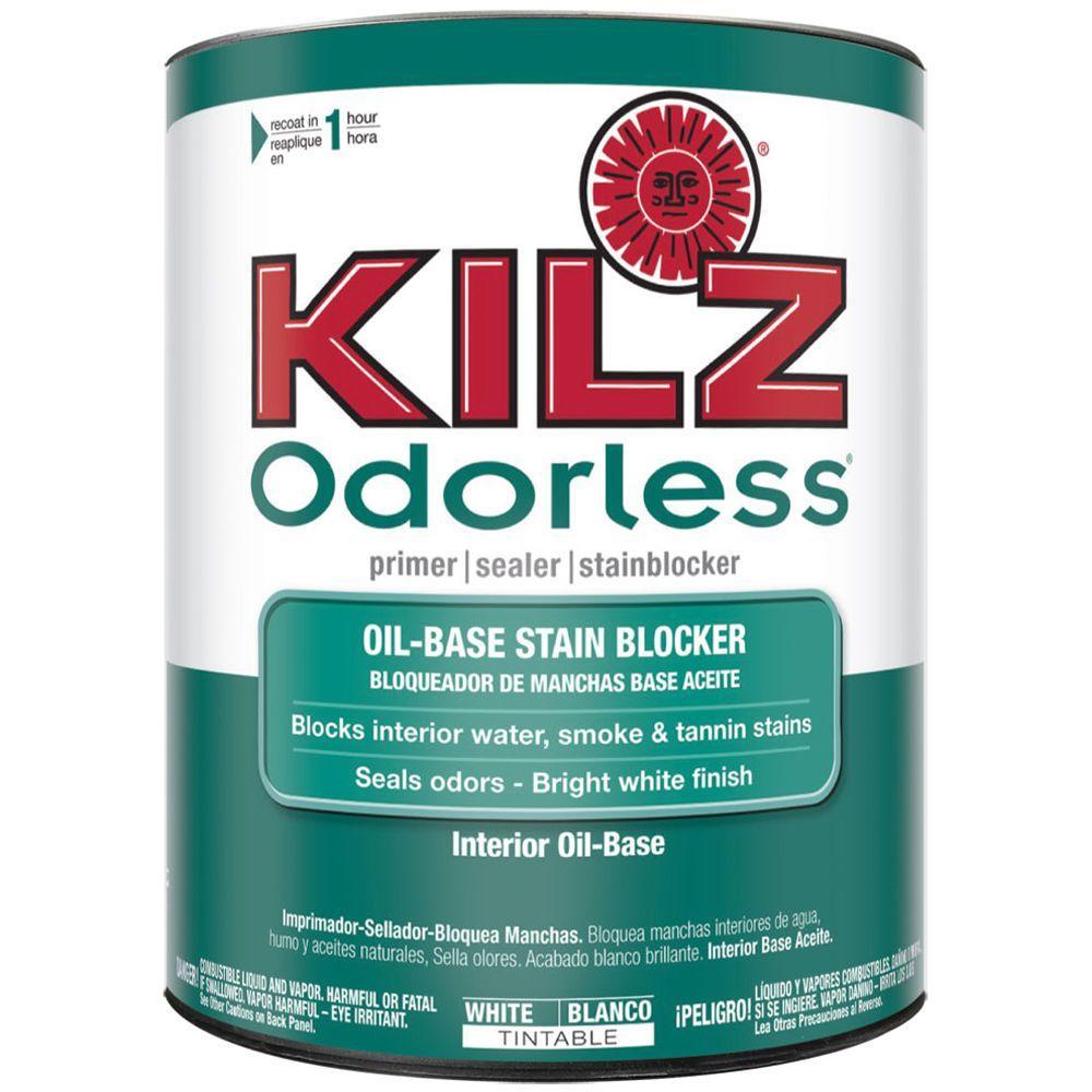 KILZ ODORLESS 1-Qt. White Oil-Based Interior Primer, Sealer and Stain-Blocker