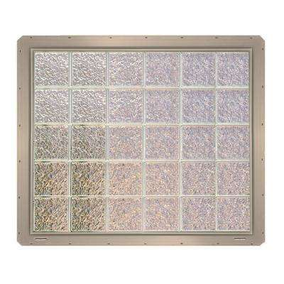 46.75 in. x 39.25 in. x 3.25 in. Ice Pattern Glass Block Window with Clay Vinyl Nailing Fin