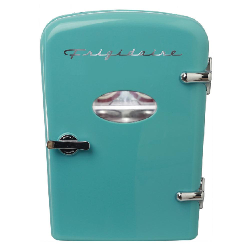 Frigidaire 6 Can Mini Retro Fridge in Blue The Frigidaire 6 can mini retro personal beverage refrigerator is a cool and fun way to keep your favorite beverages and snacks cold. The retro design will look great with any decor whether contemporary or traditional. It is perfect for a dorm room, office or RV. Color: Blue.