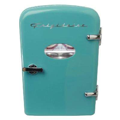 0.3 cu. ft. 6-Can Retro Mini Fridge in Blue