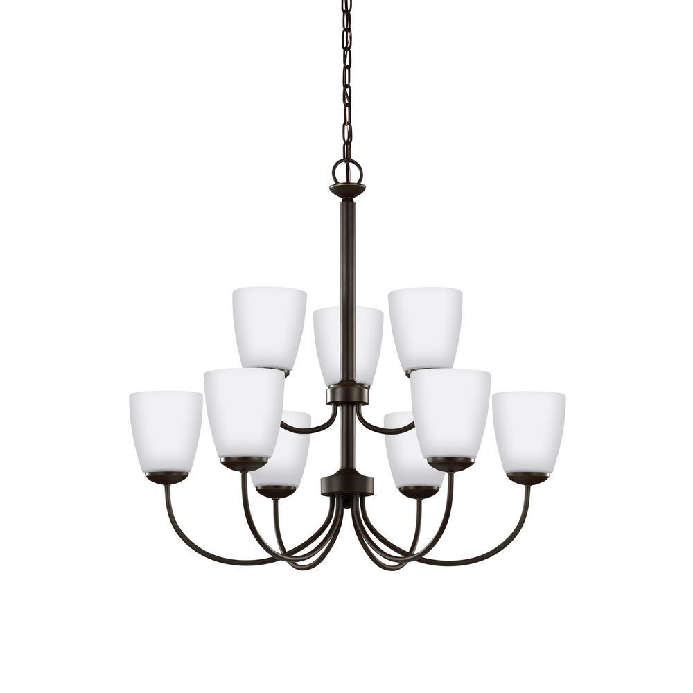 Bannock 9-Light Heirloom Bronze Chandelier with LED Bulbs