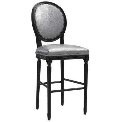 Philip Silver Leather Croc Counter Stool