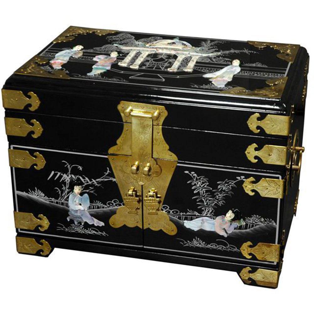 Oriental Furniture Daisi Lacquer Jewelry Box in Black