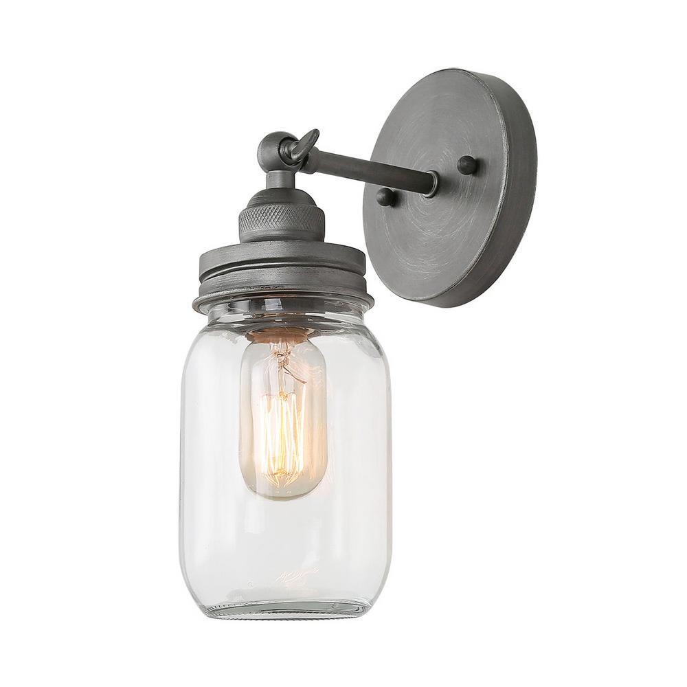 Mina 1-Light Slate Gray Glass Jar Wall Sconce Bath Light