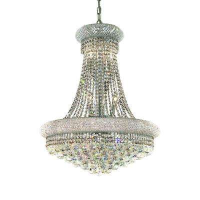 14-Light Chrome Wall Sconce with Clear Crystal