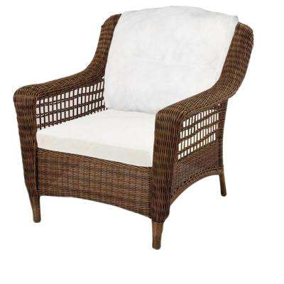 Spring Haven Brown Wicker Patio Lounge Chair with Cushions Included, Choose Your Own Color