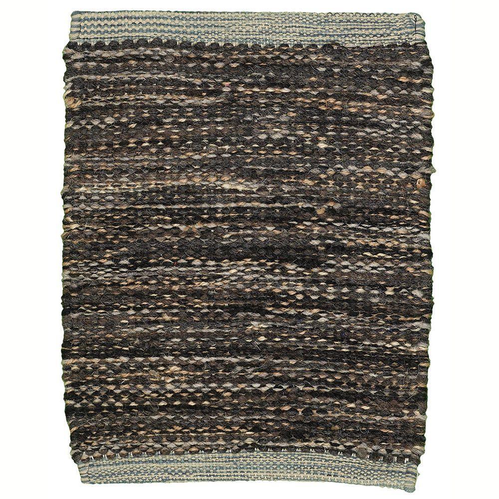 LR Resources Tribeca Black 5 ft. x 7 ft. 9 in. Reversible Wool Dhurry Indoor Area Rug