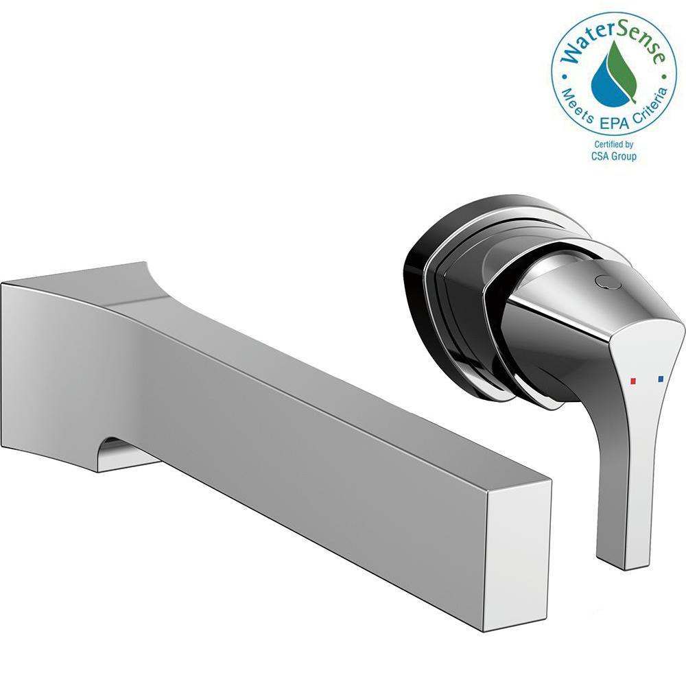 Zura Single-Handle Wall Mount Bathroom Faucet Trim Kit in Chrome (Valve
