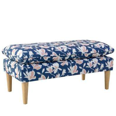 Silhouette Floral Navy Blush Pillowtop Bench