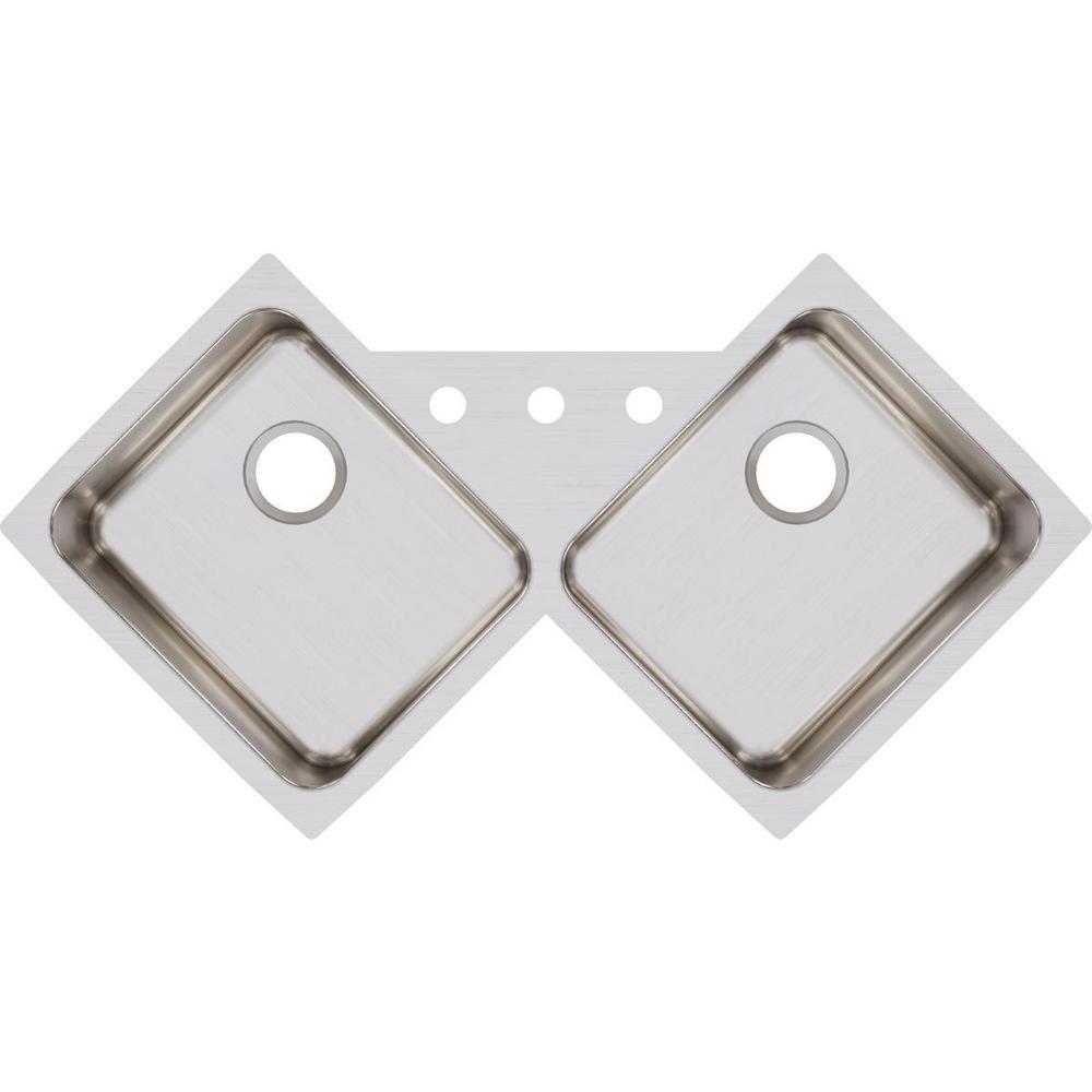 Lustertone Undermount Stainless Steel 32 in. Corner Double Bowl Kitchen Sink