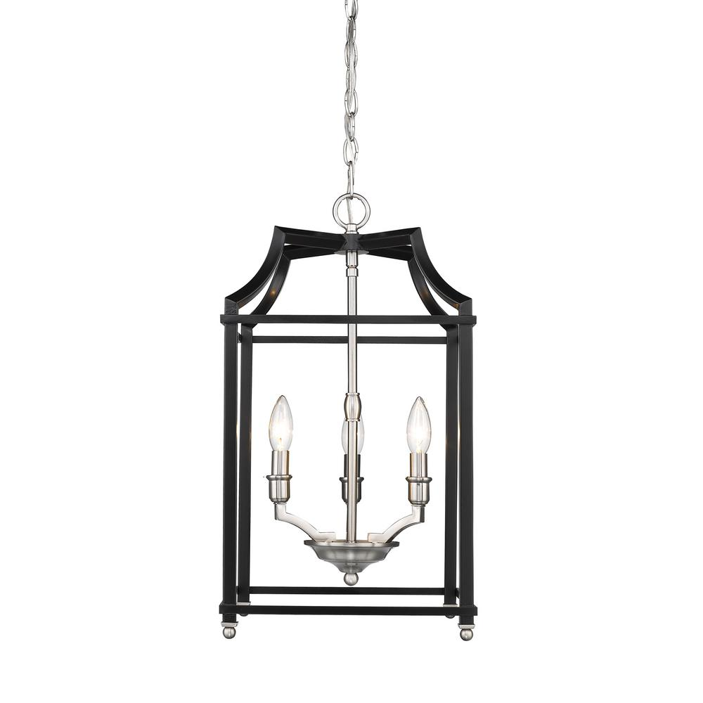 Leighton 3-Light Pewter and Black Pendant Light