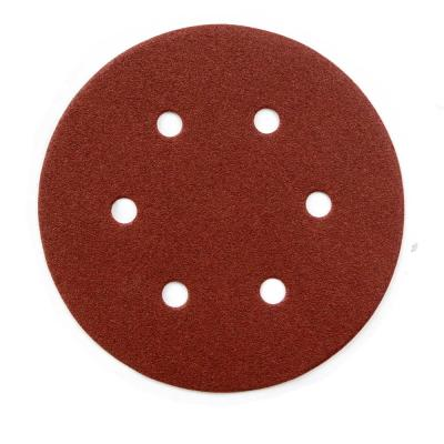 6 in. A/O Hook and Loop 6 Hole Disc Assortment 40-Grit, 80-Grit, 120-Grit, 220-Grit and 320-Grit in Red (100-Pack)