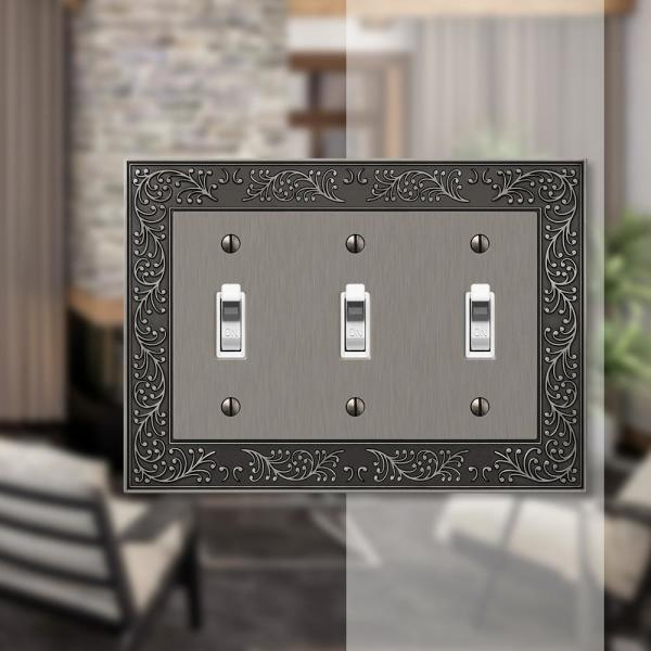 Amerelle English Garden 3 Gang Toggle Metal Wall Plate Antique Nickel 43tttan The Home Depot