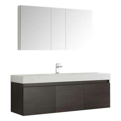 Mezzo 59 in. Vanity in Gray Oak with Acrylic Vanity Top in White with White Basin and Mirrored Medicine Cabinet