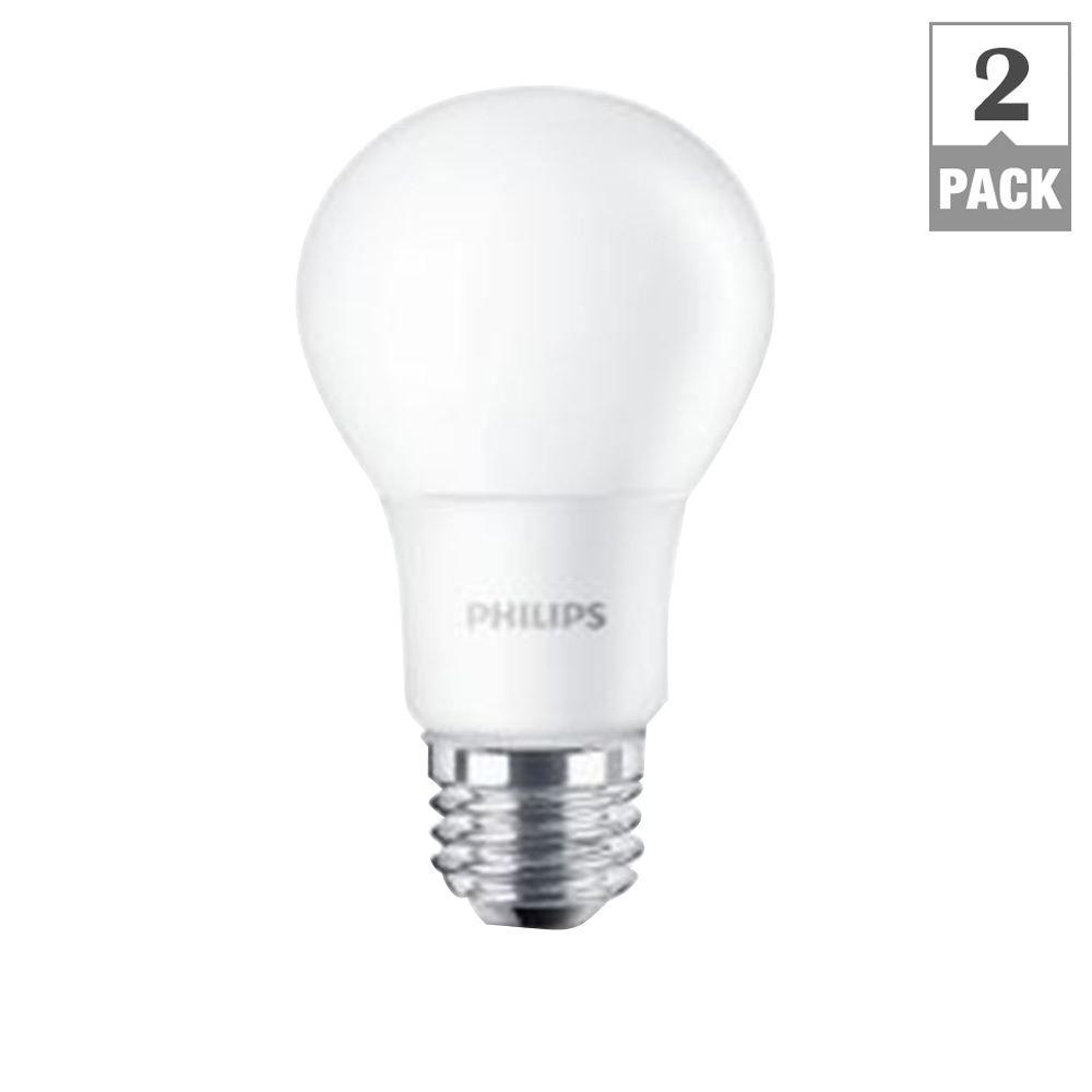 Philips 60w Equivalent Soft White A19 Led Light Bulb 2 Pack 455576 The Home Depot
