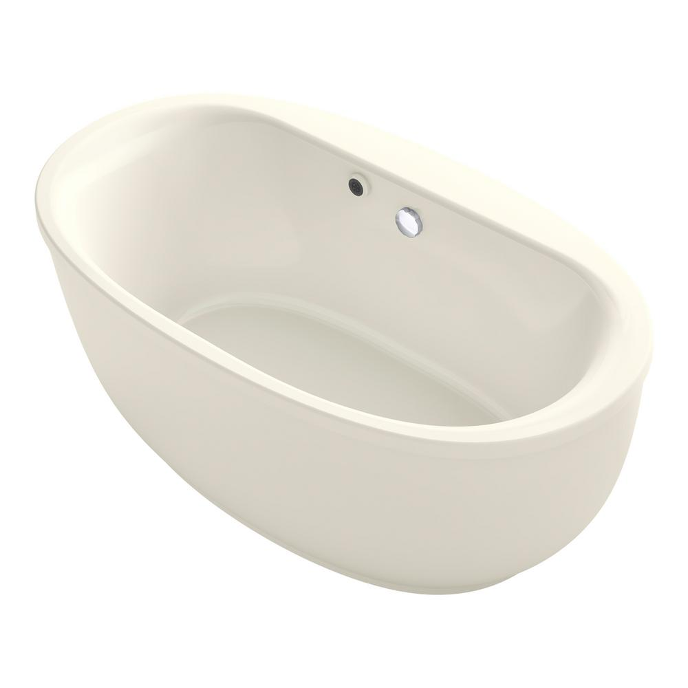 KOHLER Sunstruck 5.5 Ft. Acrylic Flatbottom Non Whirlpool Bathtub In Biscuit