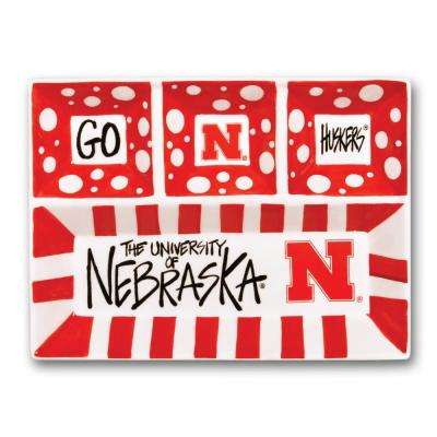 Nebraska Ceramic 4 Section Tailgating Serving Platter