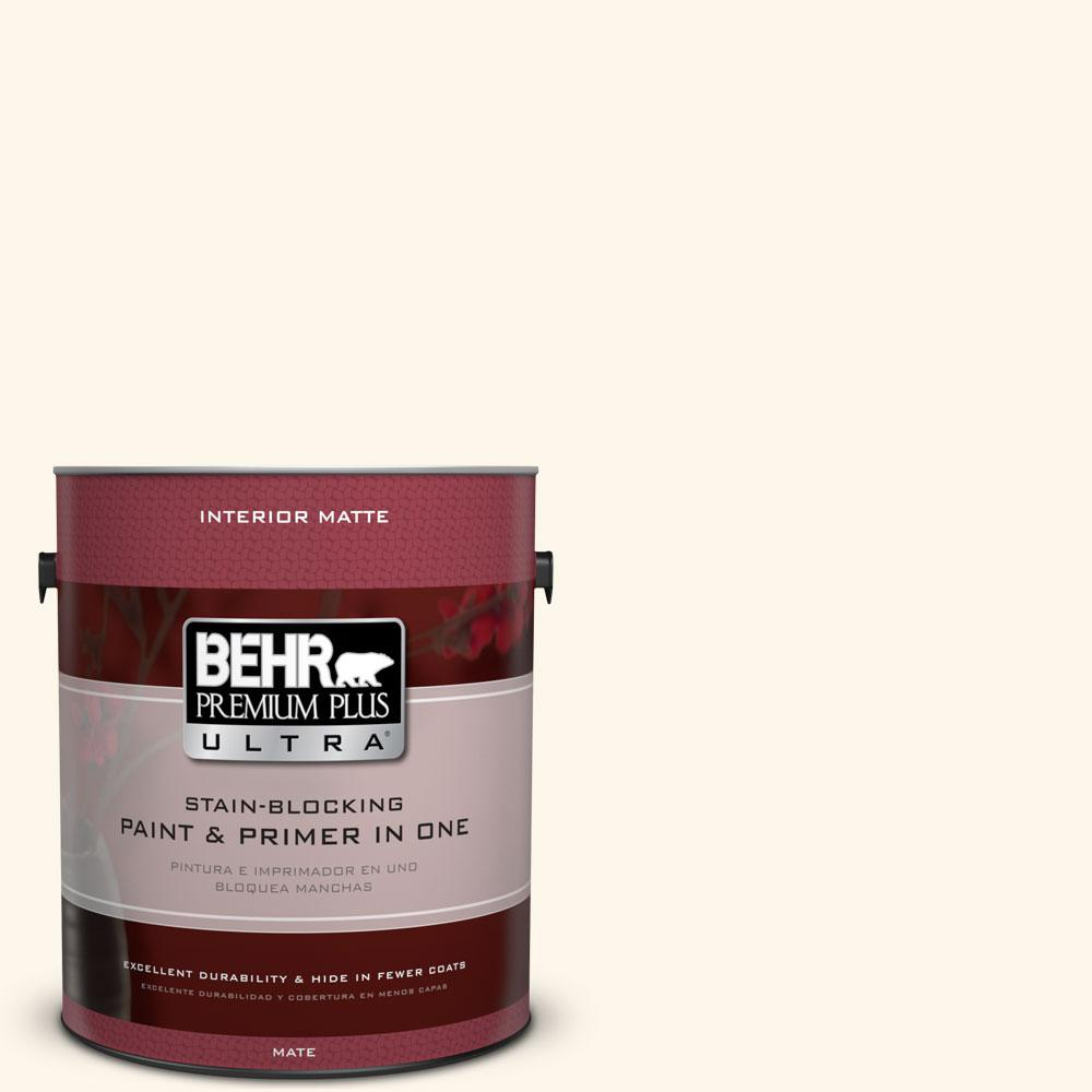 BEHR Premium Plus Ultra 1 gal. #PWN-20 Whipping Cream Flat/Matte Interior Paint