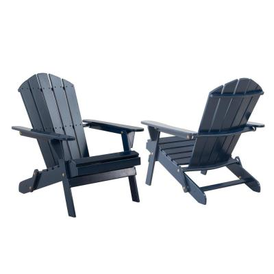 Classic Midnight Folding Wooden Adirondack Chair (2-Pack)