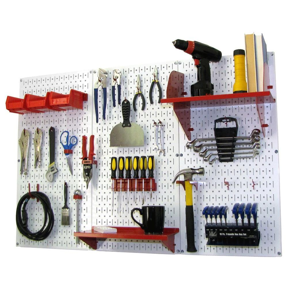 Wall Control 32 in. x 48 in. Metal Pegboard Standard Tool Storage Kit with White Pegboard and Red Peg Accessories