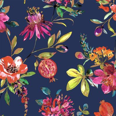 Crown Red Floral Trail Wallpaper Flowers Honeysuckle White Grey Metallic