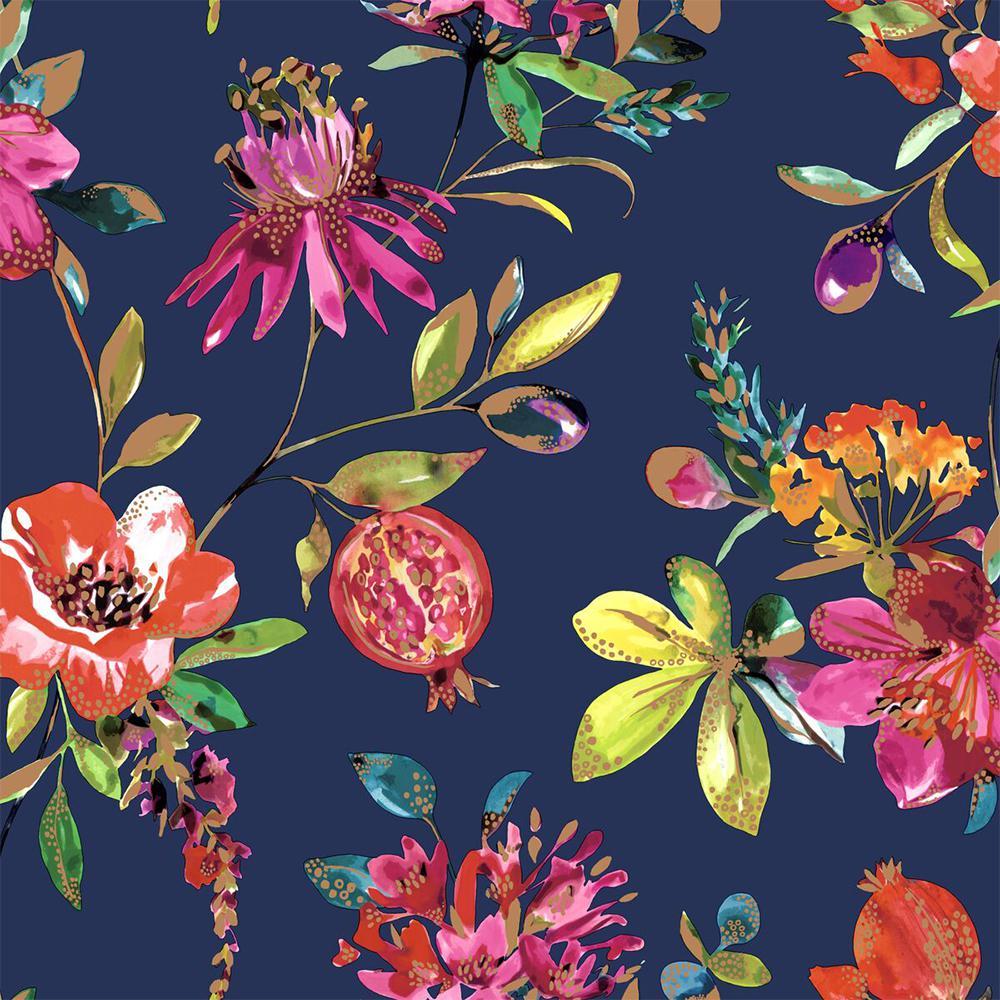 Navy Bright Blossoms Wallpaper