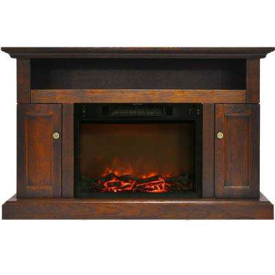 Sorrento Electric Fireplace with 1500-Watt Log Insert and 47 in. Entertainment Stand in Walnut