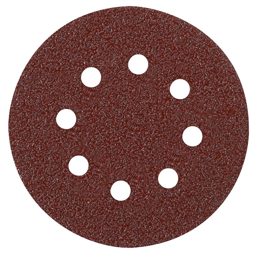 5 in. 8-Hole Red 40-Grit Hook and Loop Sanding Disc (50-Pack)