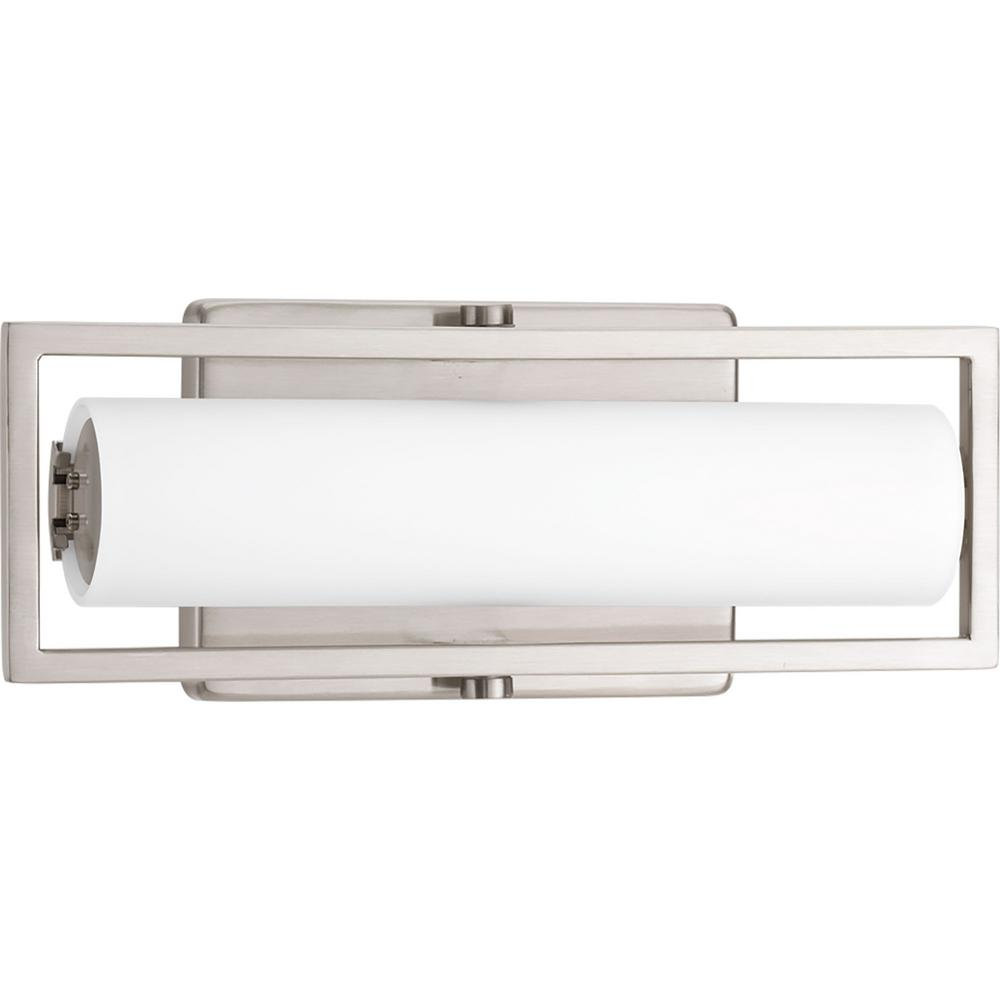 Frame Collection 15-Watt Brushed Nickel Integrated LED Linear Vanity Light with