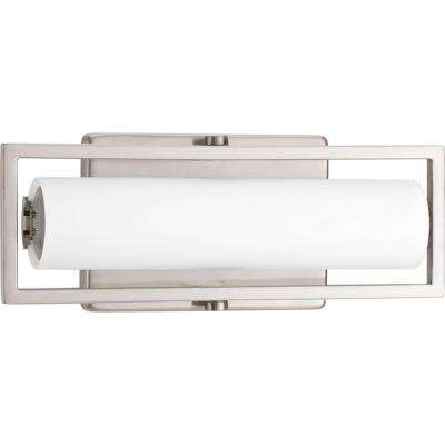 Frame Collection 15-Watt Brushed Nickel Integrated LED Linear Vanity Light with Etched White Glass Shades