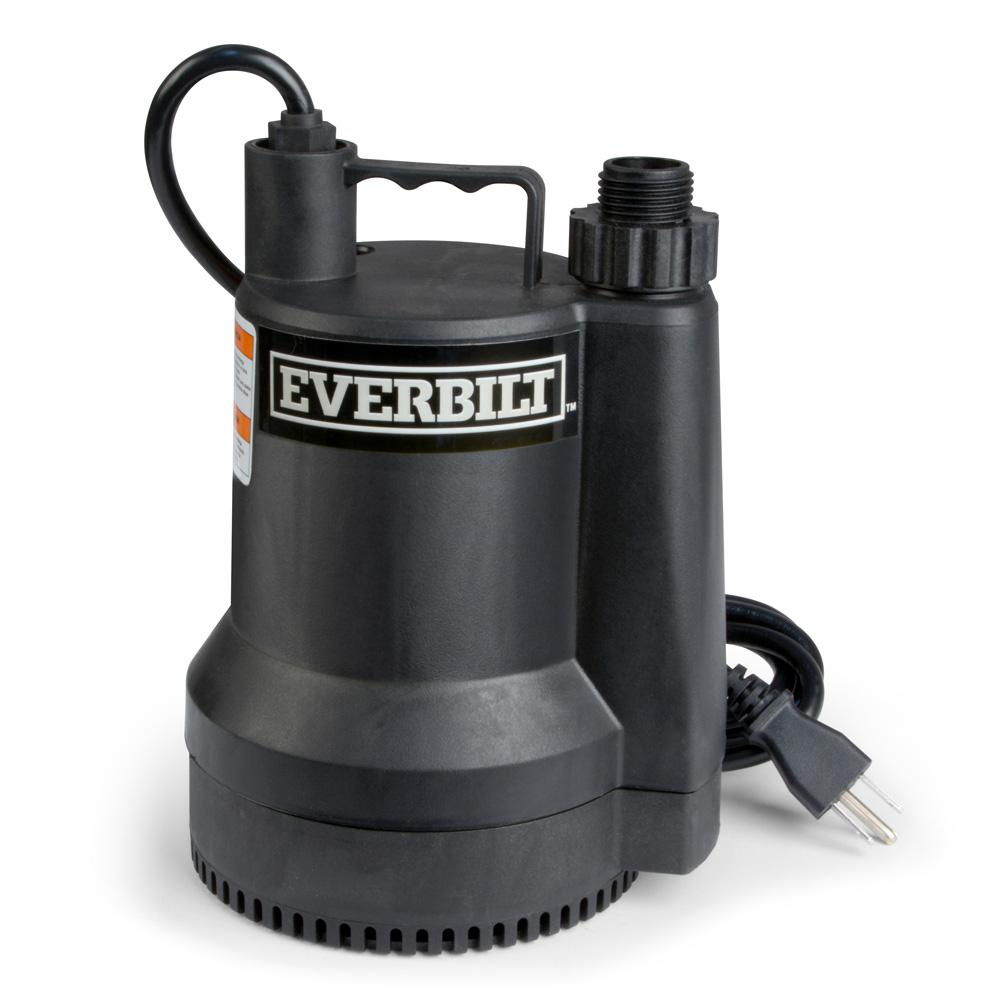 Everbilt 1 6 Hp Plastic Submersible Utility Pump