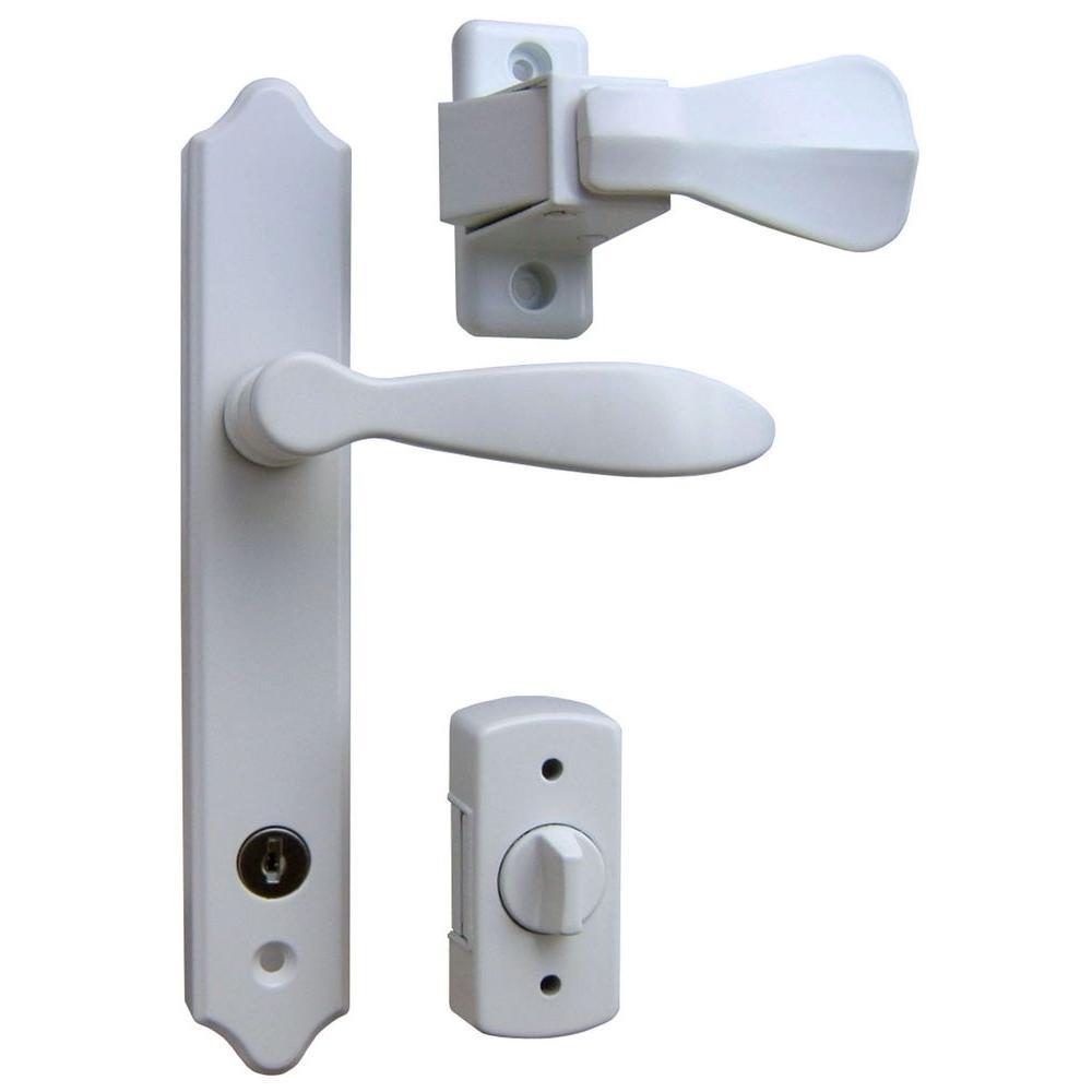 Deluxe White Storm Door Handle Set with Deadbolt