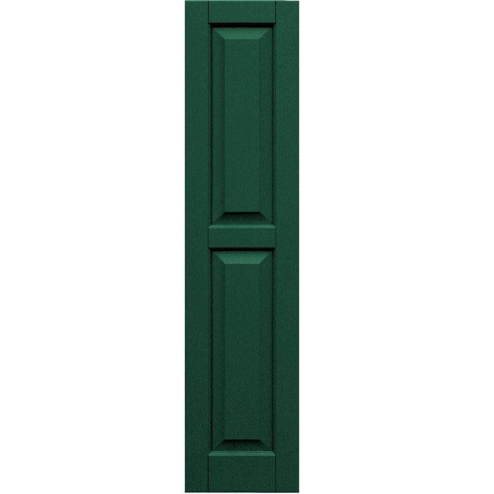 Winworks Wood Composite 12 in. x 52 in. Raised Panel Shutters Pair #633 Forest Green
