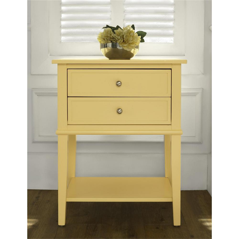 Franklin Accent Table With 2 Drawers In Yellow
