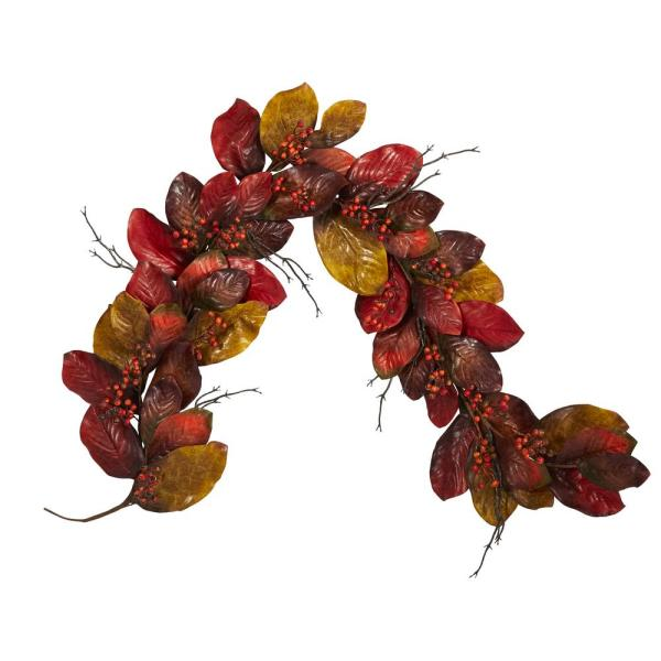 6 ft. Autumn Magnolia Leaf with Berries Artificial Garland
