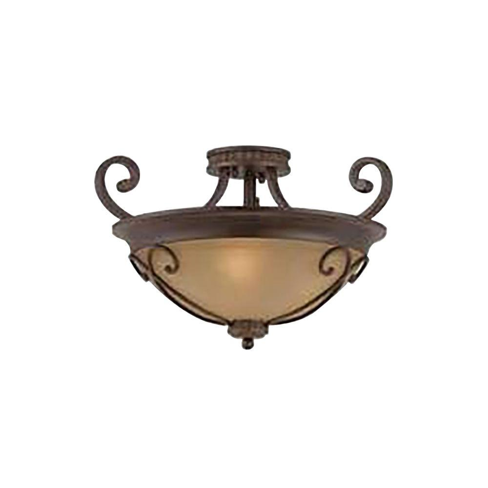Charry 3-Light Bronze Semi-Flush Mount Light