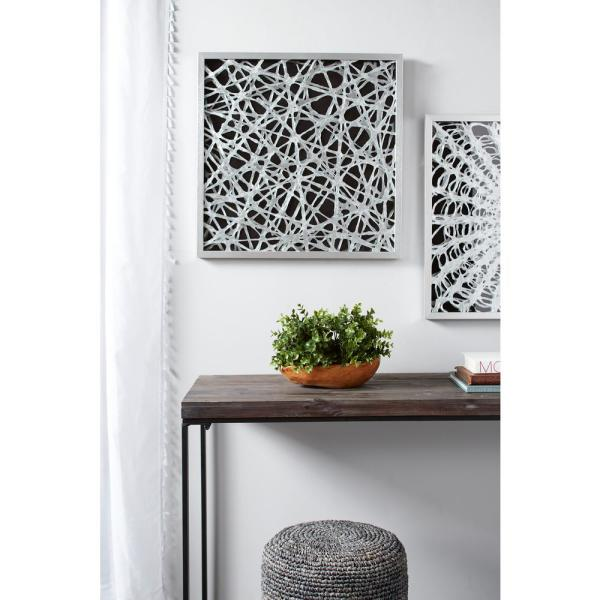 Large Square Modern Abstract Art Black And White Paper Shadow Box Wall Art