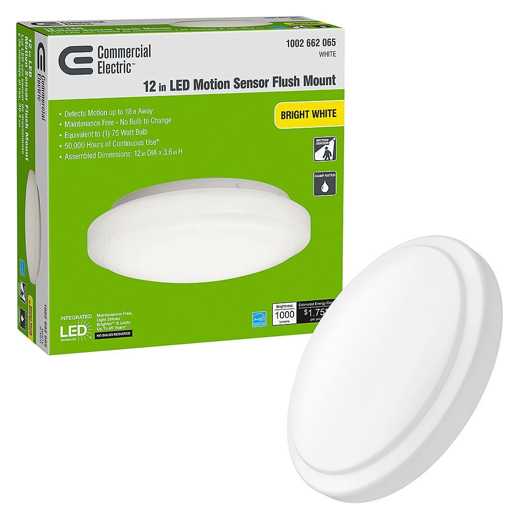 12 in. Adjustable Motion Sensor LED Flush Mount Ceiling Light 1000 Lumens Dimmable Direct Wire 4000K