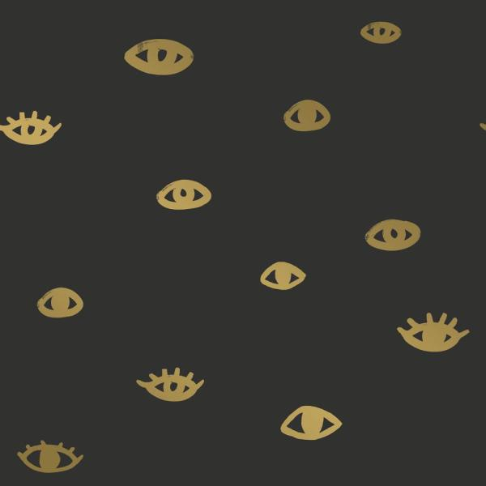 Tempaper Bobby Berk Eye See You Black & Gold Self-Adhesive, Removable Wallpaper