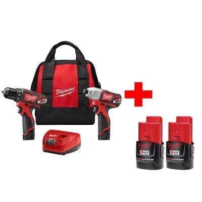 M12 12-Volt Lithium-Ion Cordless Drill Driver/Impact Driver Combo Kit (2-Tool) with Free M12 Compact Battery (2-Pack)